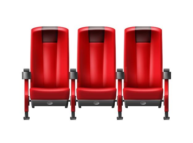 Wektor realistyczny rząd czerwonych foteli kinowych widok z przodu z bliska na białym tle