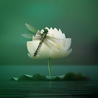 Wektor realistyczny ważka gomphus vulgatissimus siedzi na kwiat lilii z rozmyciem ciemnego turkusowego stawu w tle widok z przodu