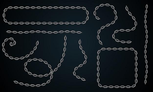 Wektor realistyczny zestaw łańcucha. zestaw do tworzenia ramek, przegród z rogami i końcówkami oraz cieniem na czarnym tle