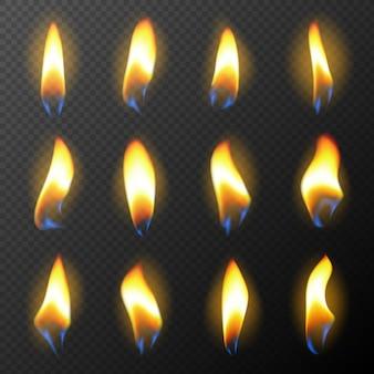 Wektor realistyczny zestaw ognia świecy efekty świetlne na tort urodzinowy ikona płonącej świecy