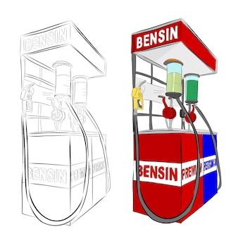 Wektor ręcznie rysować szkic, indonezja mini stacja benzynowa lub zwykle nazywane pertamini, na białym tle