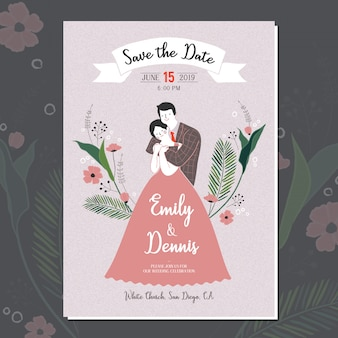 Wektor ręcznie rysowane cute para ślub dla karty zaproszenie