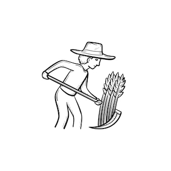 Wektor ręcznie rysowane człowiek koszenia trawy z kosą konspektu doodle ikona. koszenie trawy szkic ilustracji człowieka do druku, web, mobile i infografiki na białym tle.