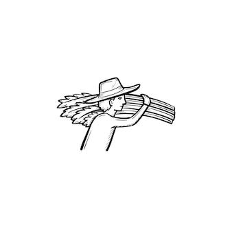Wektor ręcznie rysowane człowiek niosący ikonę doodle konspektu pszenicy. człowiek z ilustracji szkic pszenicy do druku, sieci web, mobile i infografiki na białym tle.