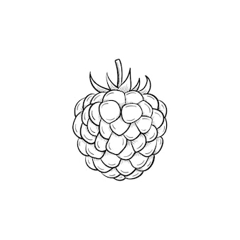 Wektor ręcznie rysowane doodle kontur malina ikona. malina szkic ilustracji do druku, sieci web, mobile i infografiki na białym tle.
