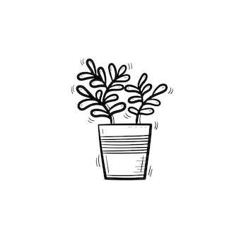 Wektor ręcznie rysowane ficus zarys doodle ikona. ozdobny dom doniczkowy roślina szkic ilustracji do druku, sieci web, mobile i infografiki na białym tle.