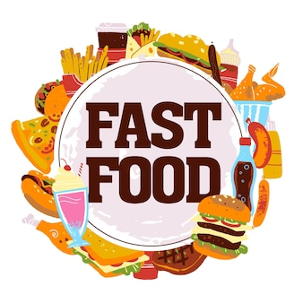 Wektor ręcznie rysowane ilustracja z elementami fast food