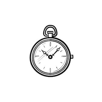 Wektor ręcznie rysowane kieszonkowy zegarek konspektu doodle ikona. zegarek kieszonkowy szkic ilustracji do druku, sieci web, mobile i infografiki na białym tle.