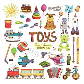 Wektor ręcznie rysowane kolorowe zabawki: pies piramida klub konewka pistolet