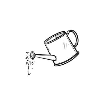 Wektor ręcznie rysowane konewka zarys doodle ikona. konewka szkic ilustracji do druku, sieci web, mobile i infografiki na białym tle.
