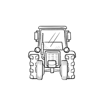 Wektor ręcznie rysowane konspektu ciągnika doodle ikona. ciągnik szkic ilustracji do druku, sieci web, mobile i infografiki na białym tle.