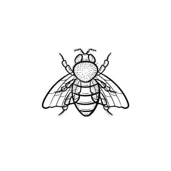 Wektor ręcznie rysowane mucha konspektu doodle ikona. mucha szkic ilustracji do druku, sieci web, mobile i infografiki na białym tle.