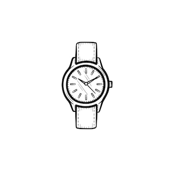 Wektor ręcznie rysowane nadgarstka zegarek konspektu doodle ikona. zegar szkic ilustracji do druku, sieci web, mobile i infografiki na białym tle.