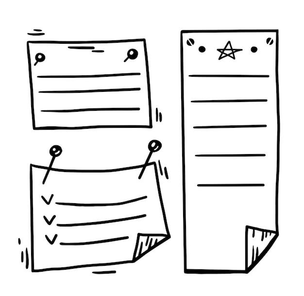 Wektor Ręcznie Rysowane Notatki Stron Przypięte Do ściany Premium Wektorów
