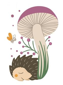 Wektor ręcznie rysowane płaski jeż śpi pod fioletowy grzyb. śmieszna scena jesień z kolczastym zwierzęciem. śliczne leśne zwierzęce ilustracja do druku, artykuły papiernicze