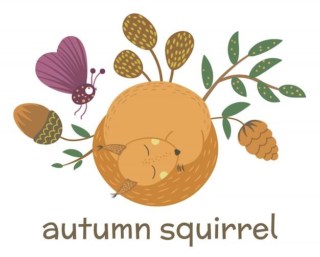 Wektor ręcznie rysowane płaskie spanie wiewiórki z żołędzi, stożek, owad, liście. śmieszna scena jesień ze zwierzęciem leśnym. ilustracja ładny las