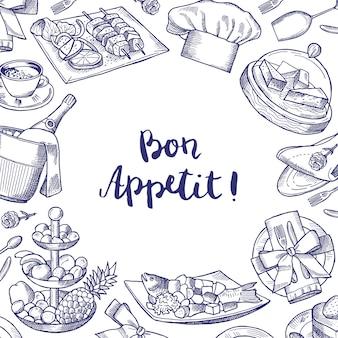 Wektor ręcznie rysowane restauracja lub elementy obsługi pokoju tło z miejscem na tekst ilustracja