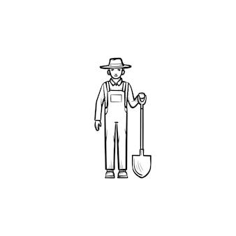 Wektor ręcznie rysowane rolnik z ikoną doodle konspektu łopata. rolnik z łopatą szkic ilustracji do druku, sieci web, mobile i infografiki na białym tle.