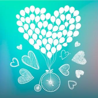 Wektor ręcznie rysowane romantyczny plakat kartkowy retro rower z ręcznie rysowanymi kartami i balonami wokół