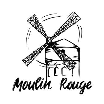 Wektor ręcznie rysowane szkic kabaretu moulin rouge w paryżu na na białym tle. do twojego projektu.