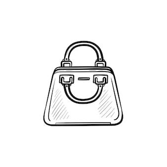 Wektor ręcznie rysowane torebka konspektu doodle ikona. kobieca torebka szkic ilustracji do druku, sieci web, mobile i infografiki na białym tle.