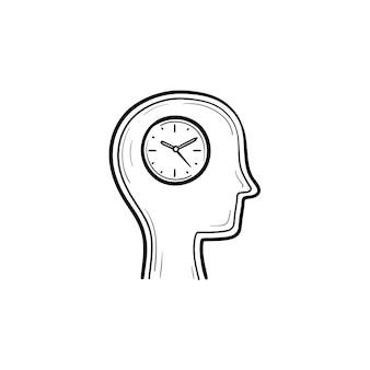 Wektor ręcznie rysowane zegar w ikonę doodle kontur głowy. człowieka z zegarem w głowie szkic ilustracji do druku, sieci web, mobile i infografiki na białym tle.