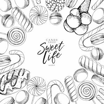 Wektor ręcznie rysowane zestaw słodkich cukierków. skręcone lizaki karmelowe, trzcina cukrowa, makaroniki, pączki.