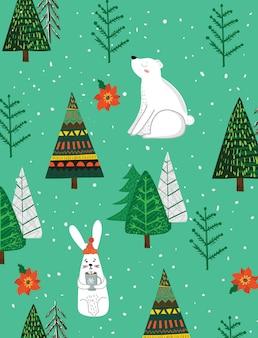 Wektor ręcznie rysunek modne abstrakcyjne ilustracje kartki świątecznej wesołych świąt i szczęśliwego nowego...