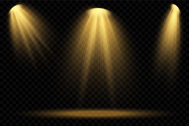 Wektor reflektory żółte. scena. efekty świetlne przezroczyste.