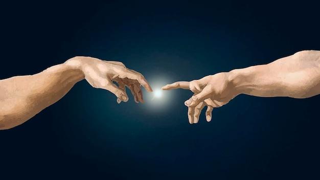 Wektor ręka bogów, słynny obraz stworzenie adama, zremiksowany z dzieł michała anioła buonarroti