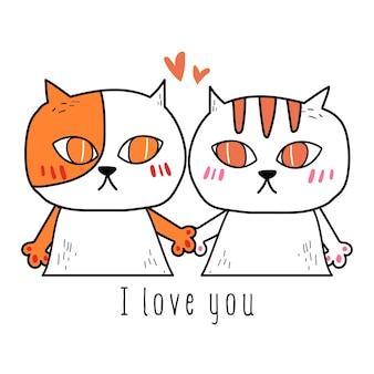 Wektor ręka remisu doodle miłości kot.