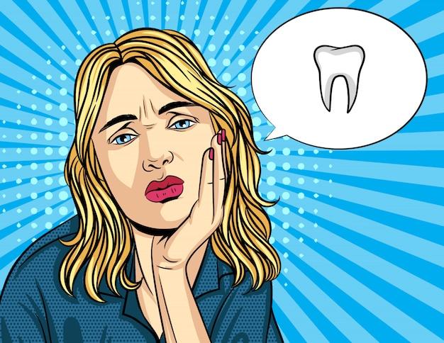 Wektor retro ilustracja komiks stylu pop art nieszczęśliwej kobiety trzymać rękę na policzku. dziewczyna ma ból zębów