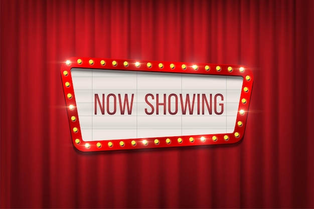 Wektor retro kino tablica ogłoszeń z ramą żarówki na tle czerwone zasłony