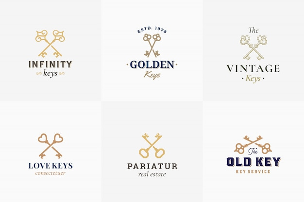 Wektor retro kluczowe herby zestaw. abstrakcyjne znaki, symbole lub szablony logo. sillhouettes różne skrzyżowane klucze z klasyczną typografią vintage. odosobniony.