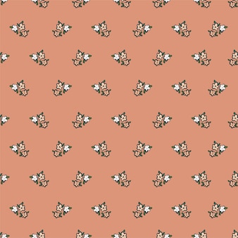 Wektor retro mały kwiat ilustracja motyw bez szwu powtórzyć wzór plik cyfrowy wzór grafika