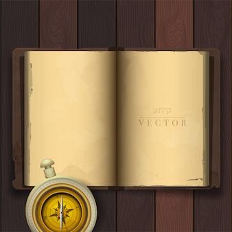 Wektor rocznika książka. czysta kartka.