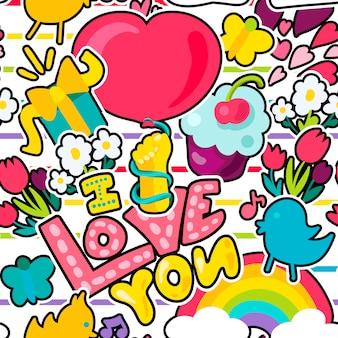 Wektor romantyczna miłość bez szwu deseń