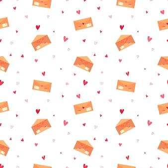 Wektor romantyczny wzór z kopertą list miłosny ze znaczkami i sercami na białym tle