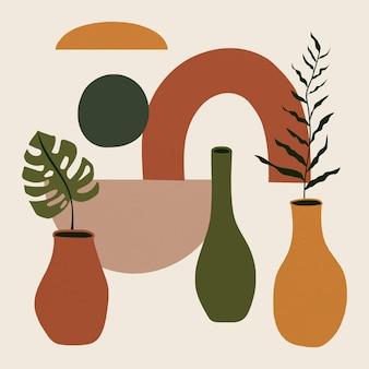 Wektor rośliny memphis w tonie ziemi w wazonie