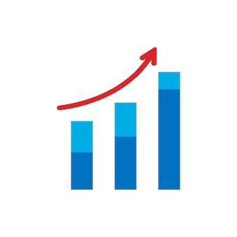 Wektor rośnie ikona wykresu. strzałka w górę symbolu. trend diagram płaski wektor ilustracja na białym tle