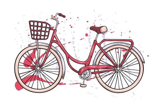 Wektor rower w stylu vintage. akwarela tekstury