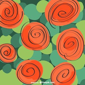 Wektor, róża, czerwony tle kwiatów