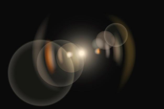 Wektor rozbłysku żółtej soczewki z efektem oświetlenia duchowego pierścienia