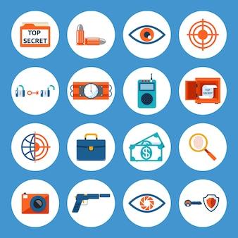 Wektor różne akcesoria szpiegowskie i ikony gadżetów na białym tle na niebieskim tle.