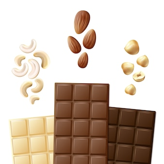 Wektor różne białe, mleko i gorzkie batony czekoladowe z nerkowca, migdałów, orzechów laskowych widok z przodu na białym tle