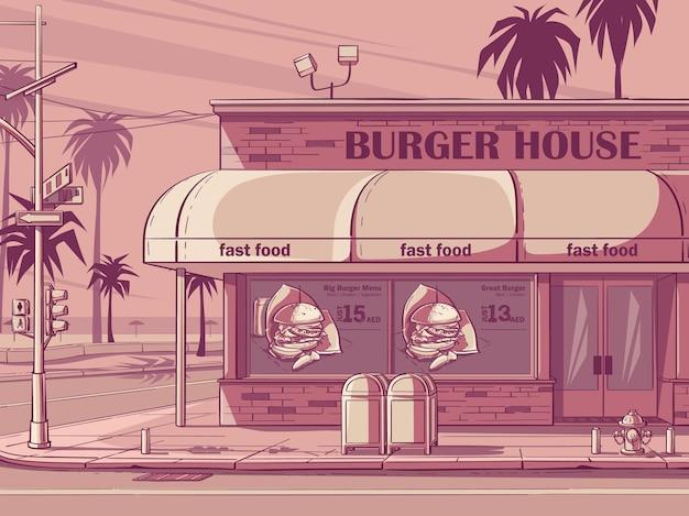 Wektor różowy kolorowym tle burger house w miami, usa. obraz kawiarni fast food.