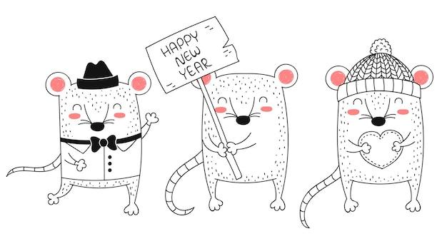 Wektor rysowania linii słodkie szczury kreatywna kolekcja zabawnej imprezy dla dzieci