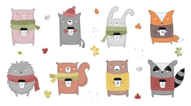 Wektor rysowanie linii zwierząt w swetrze z hasłem o jesieni