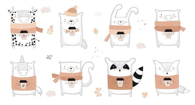 Wektor rysowanie linii zwierząt w swetrze z hasłem o jesiennej ilustracji doodle