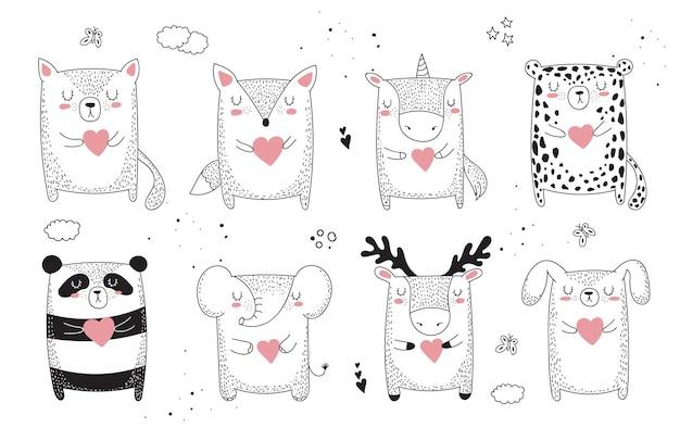 Wektor rysowanie linii zwierząt z hasłem o przyjacielu. doodle ilustracja. dzień przyjaźni, walentynki, rocznica, baby shower, urodziny, przyjęcie dla dzieci children